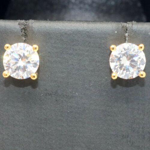 Details about  /Solitaire 1CT Moissanite Stud Earring Women Wedding Jewelry 14K Gold Plated