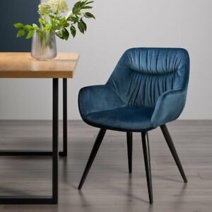 Dali - Pair of Petrol Blue Velvet Chairs with Sand Black Powder Coated Legs