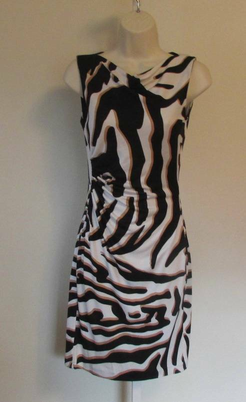 Diane von Furstenberg Glasmary Zebra Shadow tan schwarz stripe 14 shift dress DVF