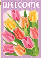 Welcome Tulips Sublimimation House Size Flag Tg 04066