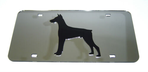 DOBERMAN PINSCHER DOG BREED MIRROR LICENSE PLATE INLAID ACRYLIC LASER CUT