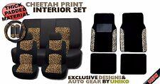15PC Black Yellow Mesh Cheetah Spots Print Car Seat Covers Floor Mats Set HS4