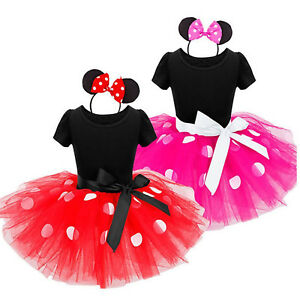 Kids-Girls-Baby-Toddler-Minnie-Mouse-Party-Costume-Tutu-Dress-Headband-Outfits