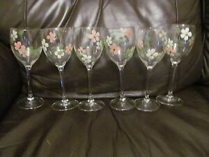 New Set Of 6 French Luminarc Hand Painted Floral Wine Glasses Ebay