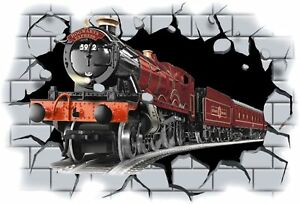Huge-3D-Hogwarts-Express-Train-Crashing-through-wall-View-Wall-Sticker-Decal-74