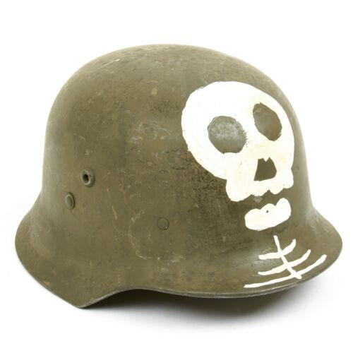 Original WWII Hungarian M38 Steel Helmet w// Finnish Totenkopf 58cm Size 7 1//4