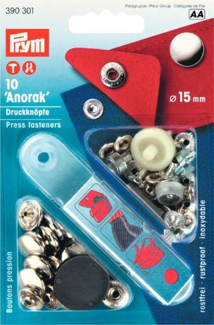 PRYM Nachfüllpackung Anorak Druckknöpfe 15 mm silber