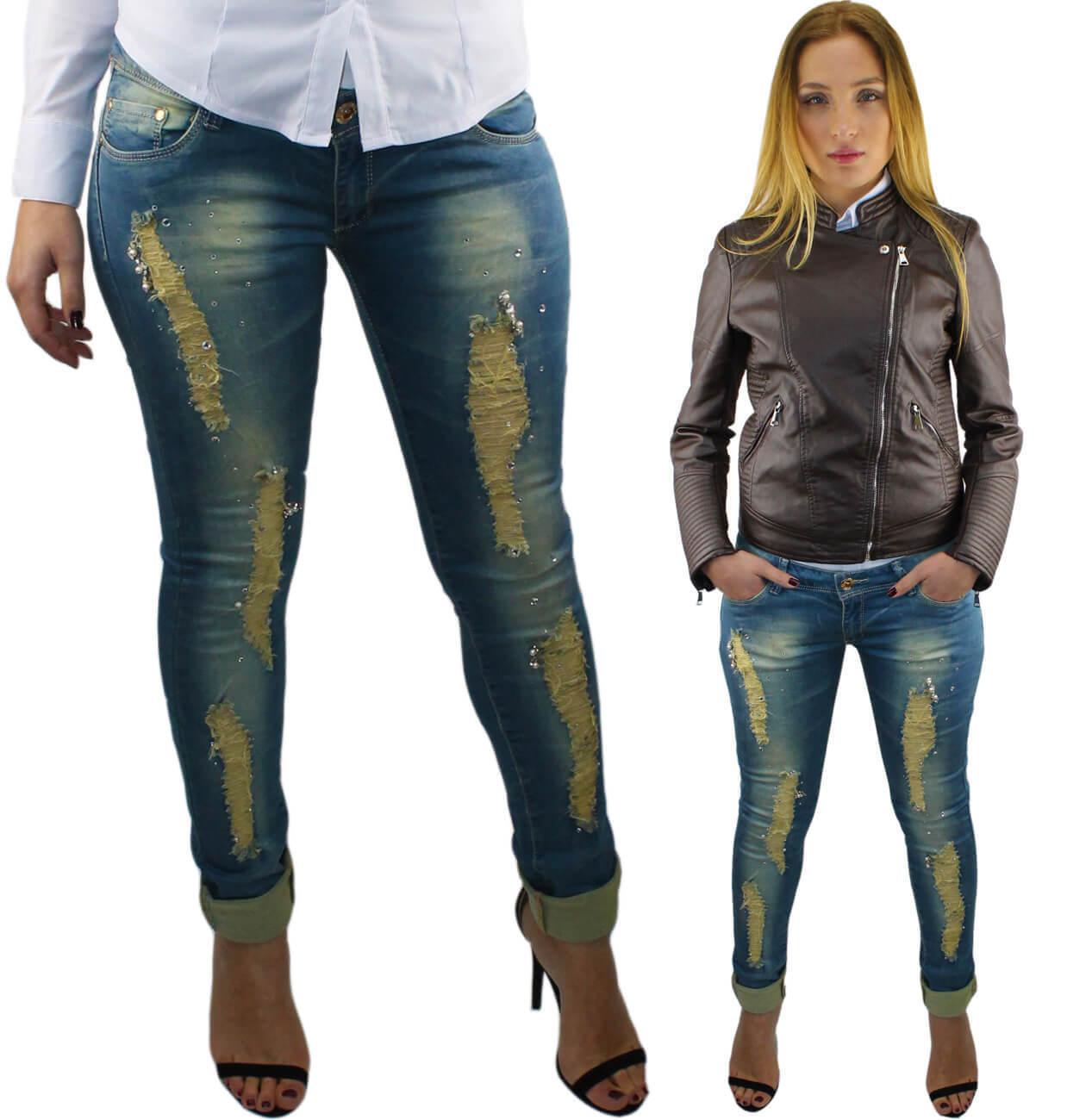 a85183091f7eea Jeans donna pantaloni slim fit skinny strappati vita bassa 40 42 44 ...