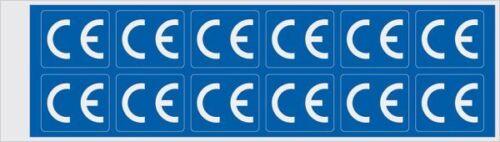12//Bogen rechteckig blau//weiß CE-Zeichen 30x25mm Folie selbstklebend