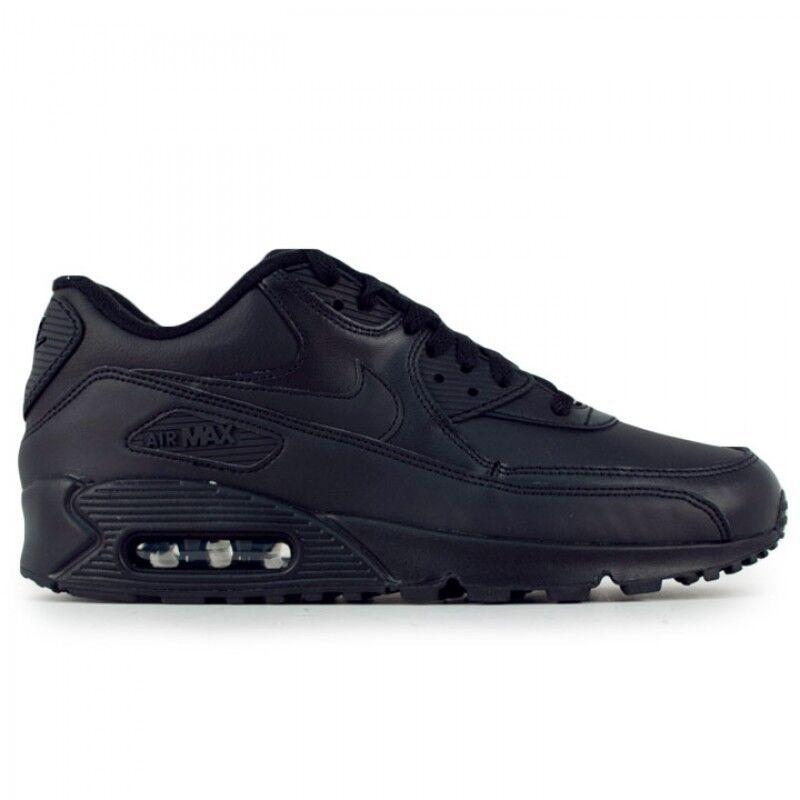 NOUVEAU Homme Nike Air Max 90 Leather Running Chaussures Noir de 95 302519-001 f1 Chaussures de Noir sport pour hommes et femmes 4aac6f