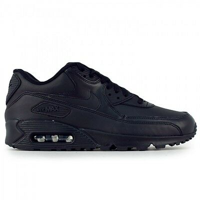 New Men's Nike Air Max 90 Leather Running Shoes Black 302519 001 f1 | eBay