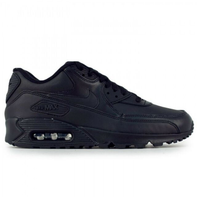 New Men's Nike Air Max 90 Leather Running Shoes Black 302519 001 f1