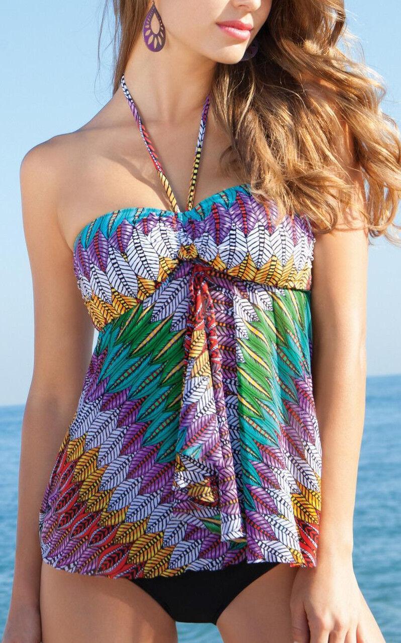 NWT GOTTEX PROFILE Mexicana Mesh Mesh Mesh FLY AWAY 2 Piece Tankini Bathing Suit sz 16 3d47bf