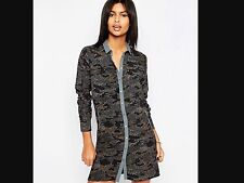 BRAND NEW PEPE JEANS SHIRT DRESS/ CAMOUFLAGE PRINT/ SIZE SMALL/ STUD FASTENING