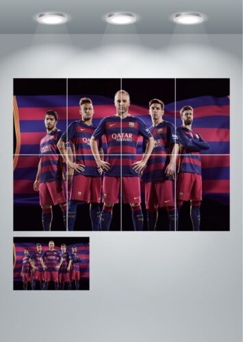 A4 Sections or Giant 1Piece Barcelona FC Messi Neymar Wall Art Poster Print A3