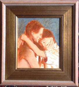 Oil-Painting-Love-Couple-Embrace-Close-Emotion-Expressionist-Mid-20-JHR-Antique