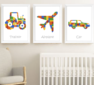Transport Vehicles Baby Boy Nursery Art Prints Decor Set Of 3, Cars Picture Lego