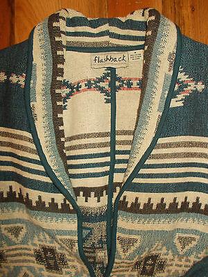 Western Blanket Coat 12-14 Womens M Jacket American Indian Design Flashback WC34