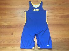 New Nike Men's Large China Team ID Savage Singlet Blue / Yellow $85