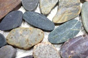 Mosaik Carrelage de carrelage d/écoup/é au galet Blanc//gris Pour mur ou cuisine