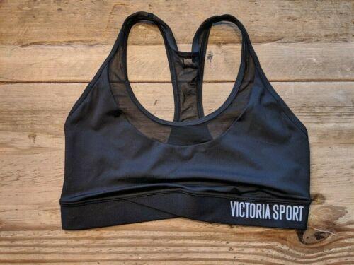 VICTORIA/'S SECRET SPORT  BLACK LOGO MESH FRONT THE PLAYER WIRELESS SPORT BRA VS