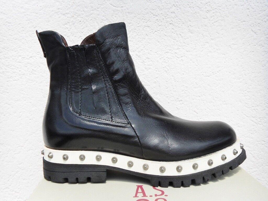 Ital a.s.98 Blade botas motorista chelsea botas Echt Leder negro tachuelas nuevo