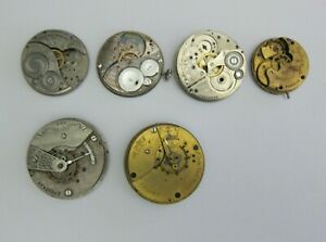 Lot-Elgin-Pocket-Watch-Movement-Partial-Parts-or-Repair