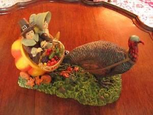 Thanksgiving Fall Table Piece, Pilgrim Children Pumpkin Ride Led by BigTurkey