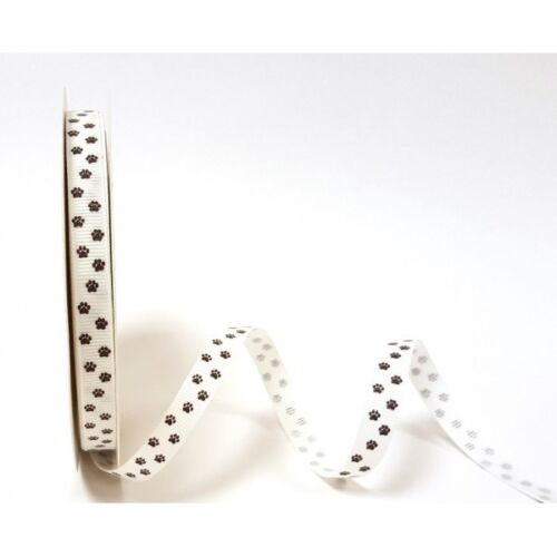 1 Metre Paw Print Ribbon Grosgrain 9mm /& 16mm Bertie/'s Bows