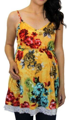 Yellow Floral Sleeveless Maternity Solid Top Blouse Women Pregnancy