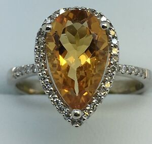 9ct-White-Gold-40ct-Diamond-And-Citrine-Pearshape-Cluster-Ring