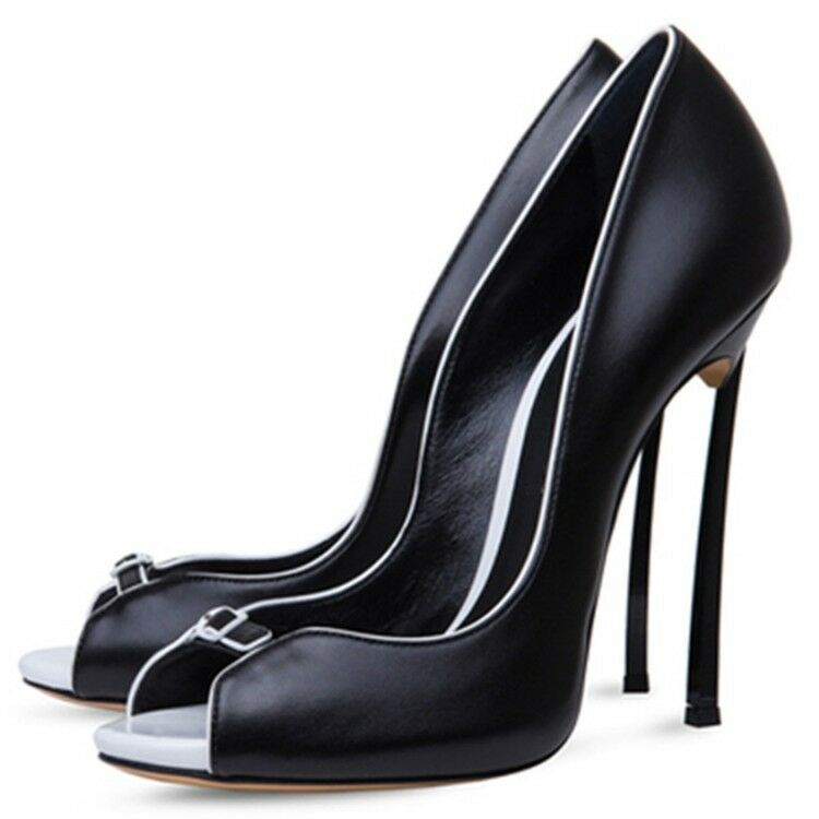 Casual European womens stiletto high heels black or white open toe sandals pumps