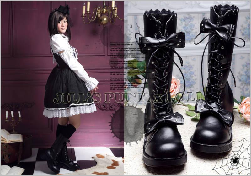 Punk Lolita 11-Hole Bows Stud Heel Boots 7.5/8 BLACK 38 2068