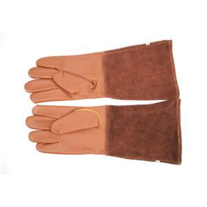 Goatskin Leather Rose Pruning Gardening Gloves with Long Cowhide Gauntlet-Medium