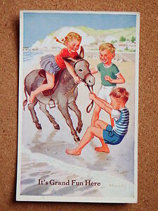 R-amp-L-Postcard-Valentine-039-s-Donkey-Series-Rowles-No-1812-1950s-Children
