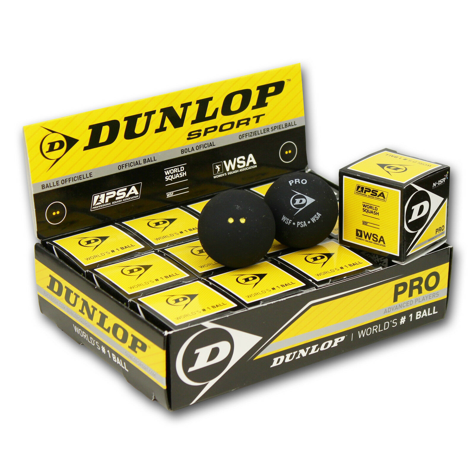 12 Squashbälle DUNLOP PRO - 2 yellowe Punkte Squash Bälle