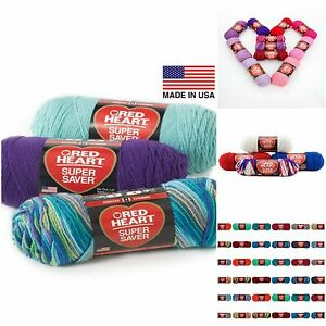 Red-Heart-Super-Saver-Yarn-E300-4-Medium-Worsted-No-Dye-Many-Prints-Tones