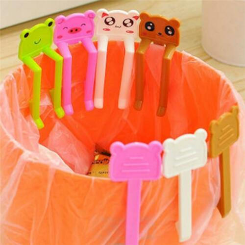 2Pcs Cartoon Plastic Garbage Can Waste Bin Trash Can Bag Clip Clamp Holder MH