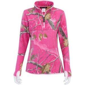 New realtree pink camo fleece half zip jacket coat shirt for Realtree camo flannel shirt