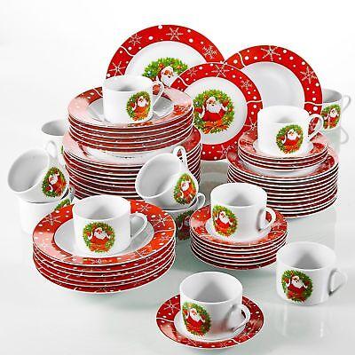 Set Cena Di Natale Santaclaus Rosso Porcellana Ceramica Servizio Da Tavola Piatti Ciotola Regalo-mostra Il Titolo Originale