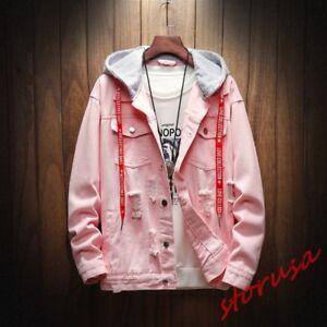 Details about Autumn Mens Fashion Hole Ripped Loose Fit Casual Denim Jacket  Korean Jeans Coat de9bfaf71c1