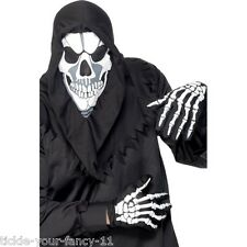 Mens Womens Skeleton Costume Kit Fancy Dress Halloween Scary Ghost Grim Reaper