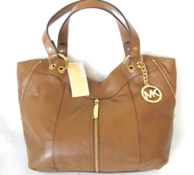 73ff5ee420fd NEW-MICHAEL KORS MD MOXLEY LUGGAGE BROWN LEATHER TOTE,PURSE,SHOULDER+HAND