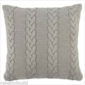 Image Is Loading GREY CABLE KNIT CUSHION SET COVER FILLING MODERN