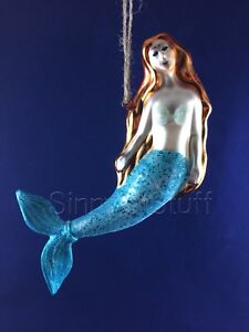Pottery Barn Mermaid Ornament Mercury Glass Sea Life Ocean