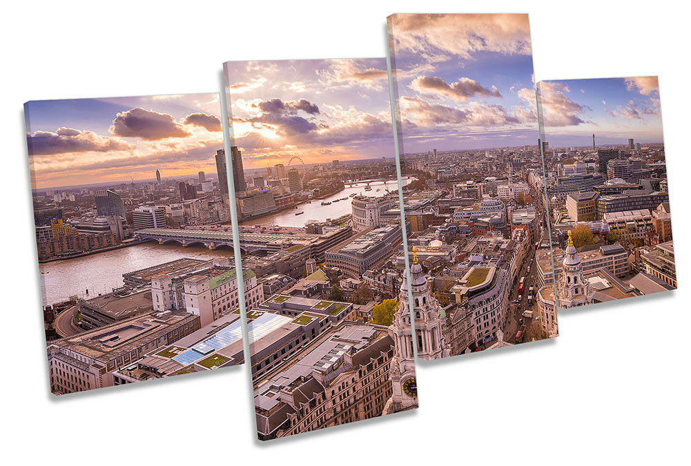 Skyline London Cityscape Picture MULTI CANVAS WALL ART Print