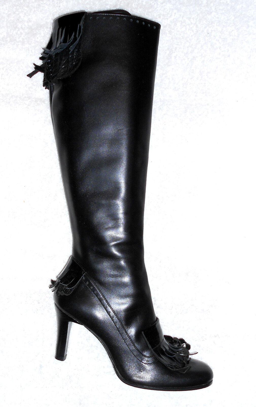 MÉA CULPA botas zippées cuir negro déco franges P 39 TBE