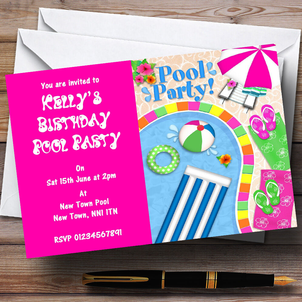 Rose Chaud piscine d'été personnalisées plage party invitations personnalisées d'été bb50cb