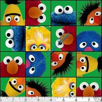 Quilting Treasures elmo & Friends 22470-g Sesame St. Blocks Fabric Per 1/2 Yd