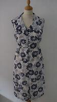 Vintage 60s Shift Dress 12 14 White Navy Floral Goodwood Summer Mad Men Mod